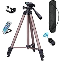 FoAnt Aluminum Professional Lightweight Camera Tripod for iPhone, Cellphone,Gopro Hero,Digital SLR DSLR Video Cameras with Cellphone Holder Clip and Remote Shutter-50/Champagne