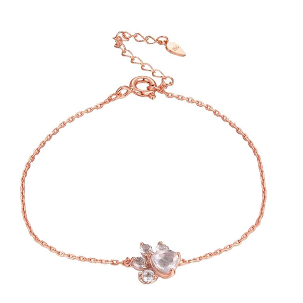 Fashion Women Cat Dog Paw Claw Rhinestones Bracelet Bangle Chain Jewelry Gifts
