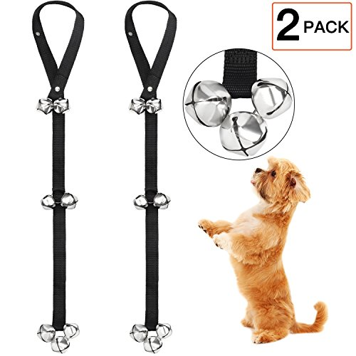 (Dog Doorbells for Potty Training - Folksmate 2 Pack Potty Bells with 7 Extra Loud Bells Adjustable for Dog Training, Housebreaking)