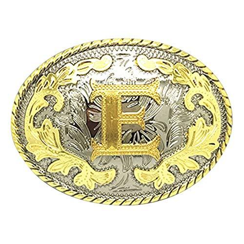 (Unisex Adult Alphabet Letter Oval Western Belt Buckle (One Size, Golden(E)))