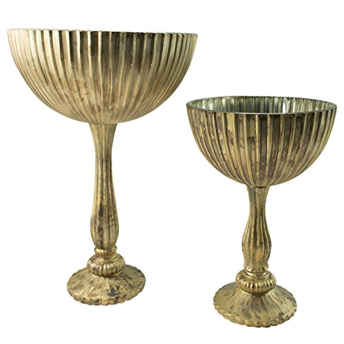 - Decorative Mercury Glass Compote Set, Aged Pedestals, 10.5 and 14 Inch, Antique Inspired Elegance, Chic Decor, Classic Style, Table Centerpieces, (Silver and Gold Marble), (Set of 2)