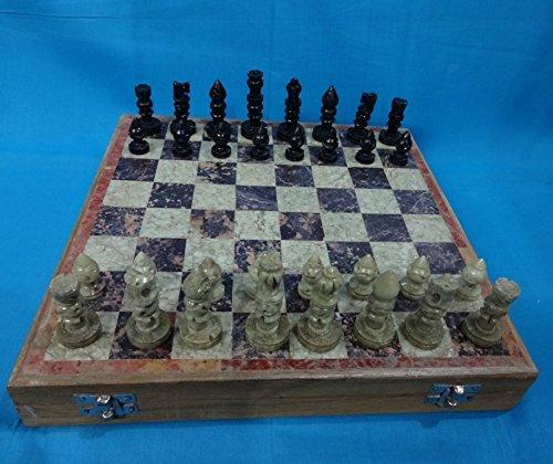 Juego de ajedrez de mármol tallado a mano