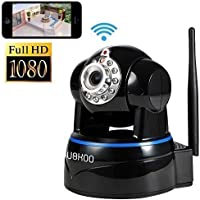 Wireless Camera, UOKOO 1280x1080p Wireless Wifi Camera with 2-Way Audio Remote Wireless for Baby Monitor, Nanny Cam, Wireless IP Camera (Black-1080)
