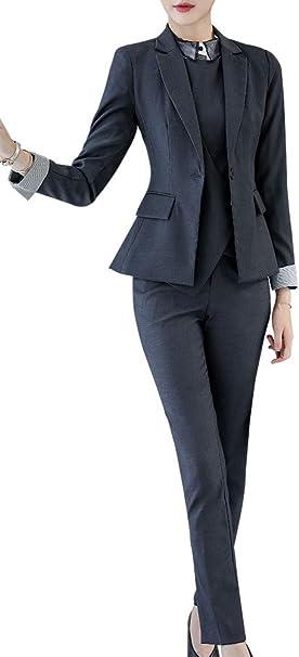 LISUEYNE Damen Hosenanzug Slim Fit Einfarbig Anzug Blazer/&Hose Kombinationen Anzug