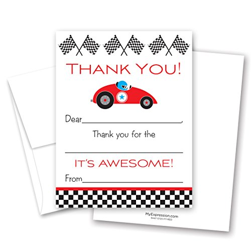 20 Gokart Sports Racing Car Kids Fill-in Birthday Thank You Cards