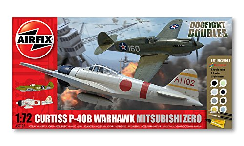 Airfix Dogfight Double Curtiss P-40B, Mitsubishi A6M2b Zero Gift Set (1:72 Scale)