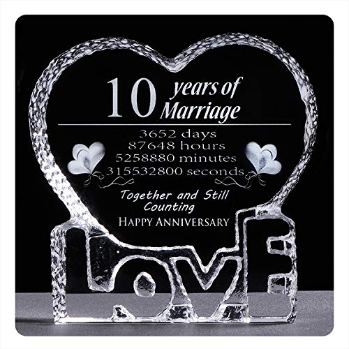 YWHL 10 Year Crystal 10th Wedding Anniversary Paperweight Keepsake Gifts for Her Wife Girlfriend Him Husband