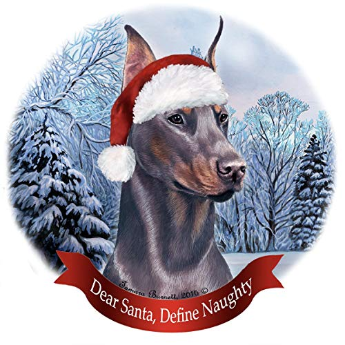 Holiday Pet Gifts Doberman Blue Cropped Dog Santa Hat Porcelain Ornament