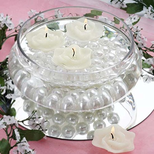 Efavormart Set of 20 White Unscented Floating Rose Candle for Wedding Party Birthday Centerpieces Home Decorations Supplies ()