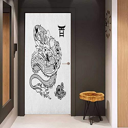 Onefzc Sticker for Door Decoration Japanese Dragon Tattoo Art Style Mythological Dragon Figure Monochrome Reptile Design Door Mural Free Sticker W23.6 x H78.7 Black White ()
