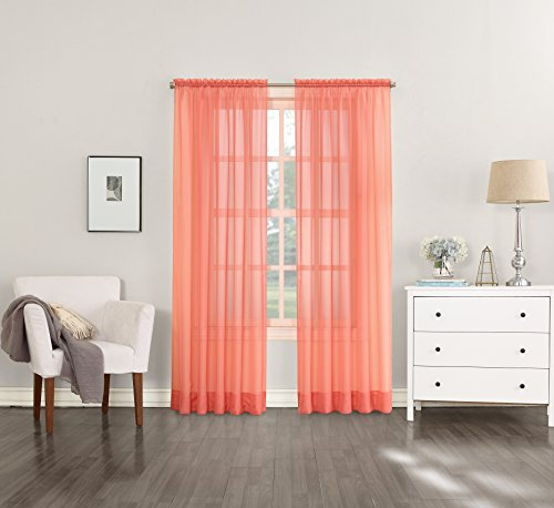 No. 918 Emily Sheer Voile Curtain Panel, 59″ x 84″, Coral Orange