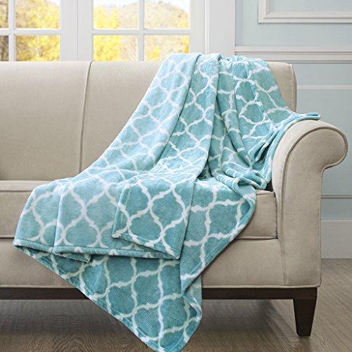 (Madison Park Ogee Luxury Oversized Throw Aqua 6070    Premium Soft Cozy Microlight For Bed, Coach or Sofa)