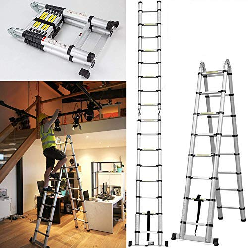 5M Multi-Purpose Aluminum Ladder Telescopic Folding A- Frame Ladder Extendable 16 Steps - UK AutoBaBa