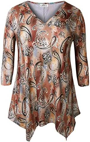 Zerdocean Women's Plus Size Printed 3/4 Sleeve Tunic Top Loose Shirt