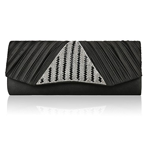 Sparkling Women Black Flap Cocktail Damara Pleated Handbag Crystal Triangle fHqEqxwPU