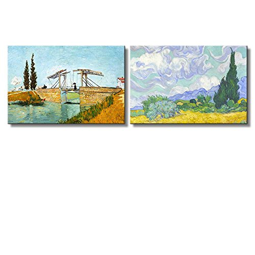 Langlois Bridge at Arles Wheat Field with Cypresses by Vincent Van Gogh Oil Painting Reproduction in Set of 2 x 2 Panels