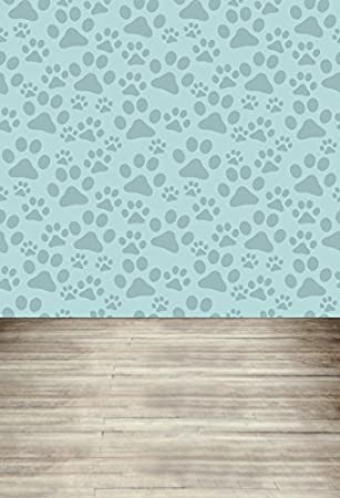 LFEEY 3x5ft Dog Paws Pattern Backdrop For Photography Wallpaper Computer Printed Wood Floor Photoshoot Background