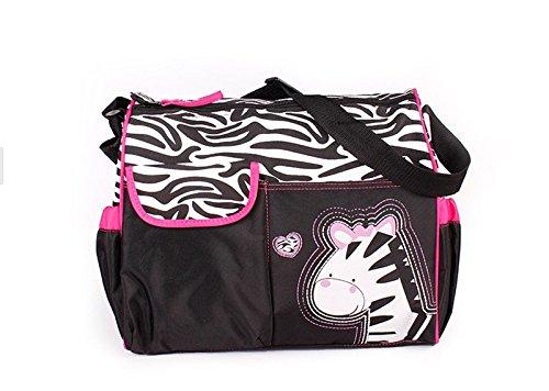 Herasa Baby 3-Piece Diaper Bag Multi Function Waterproof Mummy Handbag Giraffe Tiger Zebra 3 Print (Pink Zebra)