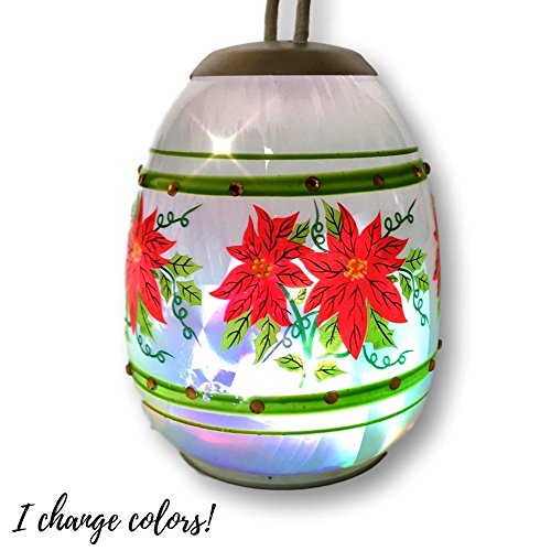Christmas Poinsettia Ornament - LED Glass Ball Ornament with Hand Painted Poinsettia Floral Design - Color Changing LED Lights