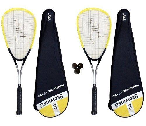 Browning Nanotec Ti 150 Lot de 2 raquettes de squash et 3 balles Dunlop