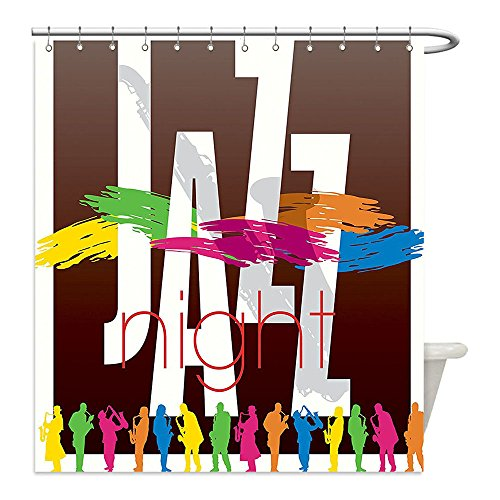 [Liguo88 Custom Waterproof Bathroom Shower Curtain Polyester Jazz Music Decor Colorful All Jazz Sign with Various Performer Silhouettes Illustration in Retro Boho Art Decor Multi Decorative bathroo] (All That Jazz Single Chain)