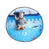 Toys Storage Kids Play Mat,BERENNIS Foldable Toys Storage Organizer Children Baby Play Rugs with 60 Inches Large Diameter Soft Cotton and Washable