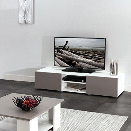 Lime TV-Tisch, 140cm–weiß und taupe