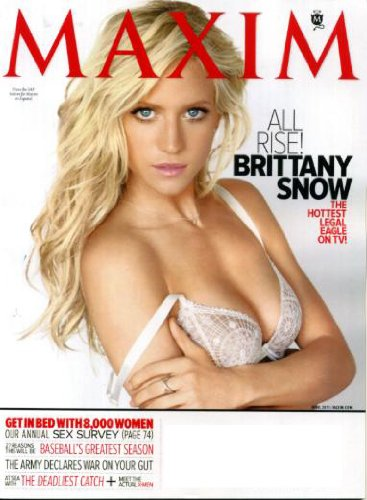 Maxim April 2011 Brittany Snow/Harry's Law on Cover, Annual Sex Survey, At Sea with The Deadliest Catch, Eva Amurri, Jake Gyllenhaal, Taylor Makakoa, Real-Life X-Men