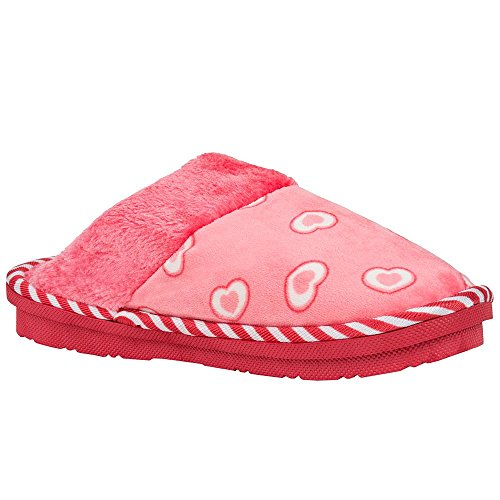 Aerusi Womens Cosmo Heart Bedroom Slipper Pink