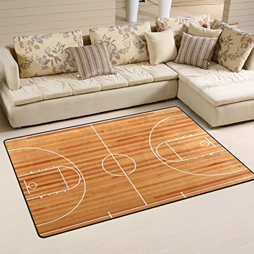 COOSUN Basketball Court Floor Plan On Parquet Background Area Rug Carpet Non-Slip Floor Mat Doormats for Living Room Bedroom 78.7 x 50.8 cm ( 31 x 20 inch )