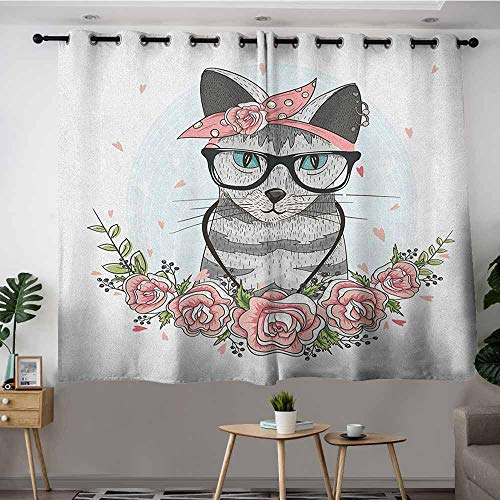 (DGGO Blackout Curtains Panels,Kitten Hipster Cool Cat with Spectacles Scarf Necklace Earrings and Flowers Little Hearts,Darkening Thermal Insulated Blackout,W63x63L)