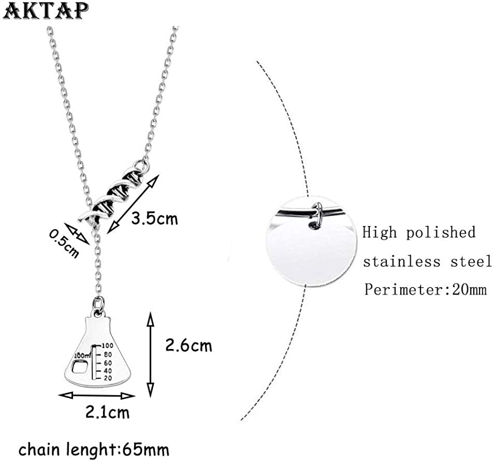 AKTAP DNA Earrings Science Flask Earrings DNA Double Helix Necklace Science Jewelry Chemistry Gifts Chemistry Biology DNA Lab Tech Charm Y Necklace