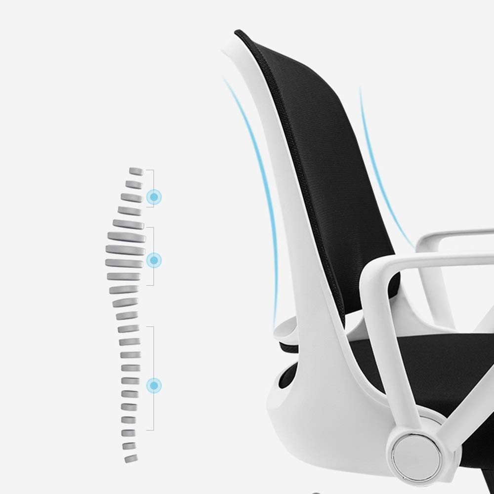 Xiuyun datorstol andningsbar nät fritid kontorsstol explosionssäker pneumatisk stång svamp med hög täthet fyllning hemma skrivbord säker lastkapacitet plast (färg: vit) Vitt