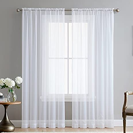 ME White 54u0026quot; Inch X 84u0026quot; Inch Sheer Curtains Window Voile Panels