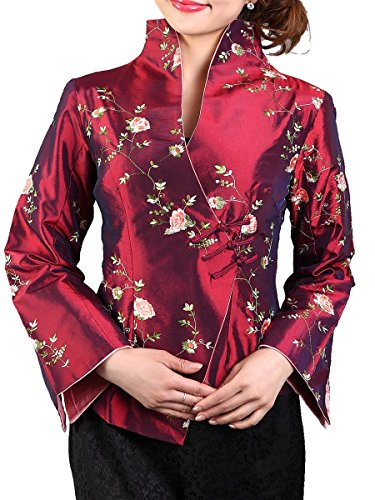 Daisy and Peony Embroidery Chinese Jacket (Small, (Chinese Womens Jacket)