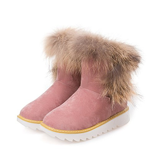 WeenFashion Low Pink Closed Heels Toe Boots Low Round top on Pull Imitated Women's Suede Snow rvwnqUFrf