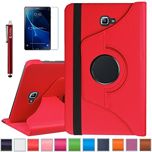 Tab A 10.1 Case - AiSMei Rotating Case Cover for Samsung Galaxy Tab A 10.1 SM-T580NZKAXAR Tablet 2016 Release 10.1-Inch SM-T580 / SM-T585 [Free Stylus + Screen Film] -Red