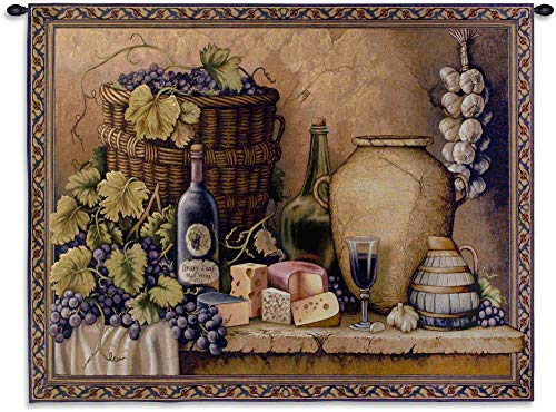 (Wine Tasting | A Still Life of Grapes Wine & Cheese | Woven Tapestry Wall Art Hanging | 100% Cotton USA Size 40X52)