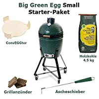 Big Green Egg Small Starter Set Keramikgrill grün Keramik XL Ceramic Smoker Garten Grill-Set ✔ Lenkrollen mit Bremse ✔ Deckel ✔ oval ✔ rollbar ✔ stehend grillen ✔ Grillen mit Holzkohle ✔ mit Rädern