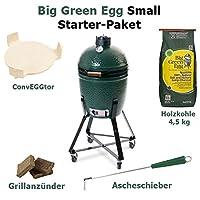 Small Starter Set Kamado Grill Big Green Egg Keramik XL grün Keramikgrill Garten Grill-Set ✔ Lenkrollen mit Bremse ✔ Deckel ✔ oval ✔ rollbar ✔ stehend grillen ✔ Grillen mit Holzkohle ✔ mit Rädern