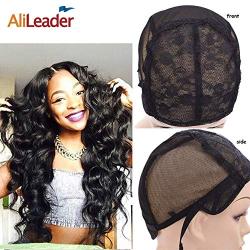 Black Double Lace Wig Caps For Making Wigs Hair Net with Adjustable Straps Swiss Lace Medium Size from AliLeader