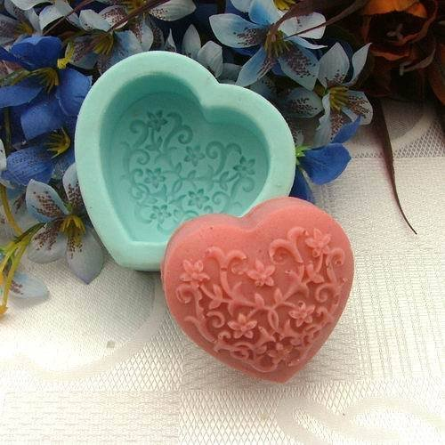 Pinkie Tm Heart shaped flower silicone soap mold molds handmade Diy form for soap wholesale