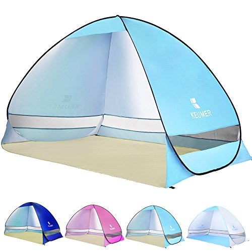 Ylovetoys Pop Up Beach Tent, 3-4 Persons Instant Beach Tents Sun Shelter Anti UV Cabana Shade Waterproof Family Tent for Beach touring, Camping, Fishing, Hiking or Picnic (Blue) Compact Pop Up