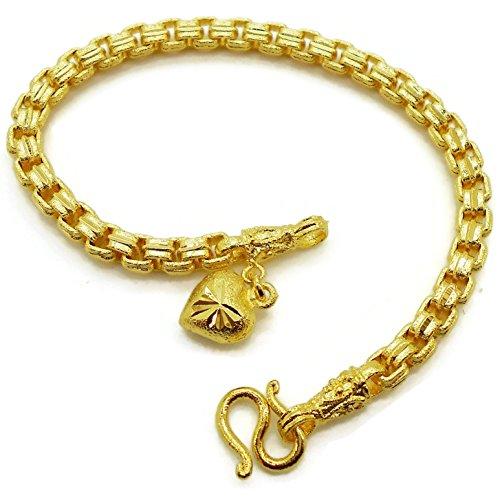 Pendant Heart 18K 23K Gold Plated Filled Chain Link Bracelet Jewelry Jewellery 7.5