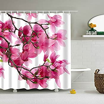 GWELL Hot Pink Peach Blossom Flower Print Shower Curtain Waterproof Mildew Resistant Polyester Fabric Bathroom