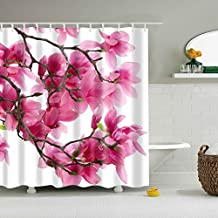 GWELL Hot Pink Peach Blossom Flower Print Shower Curtain Waterproof/Mildew Resistant Polyester Fabric Bathroom Curtain with 12 Hooks (70.86X78.74-Inch, #9)