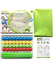 Fort Building Kit, 155PCS Ultimate DIY Build Castles/Tunnels/Play Tent Fort Building Kit For Kids, Indoor and Outdoor Construction Toys Kids Fort Kit for 3+ Years Old (100 Sticks and 55 Balls)