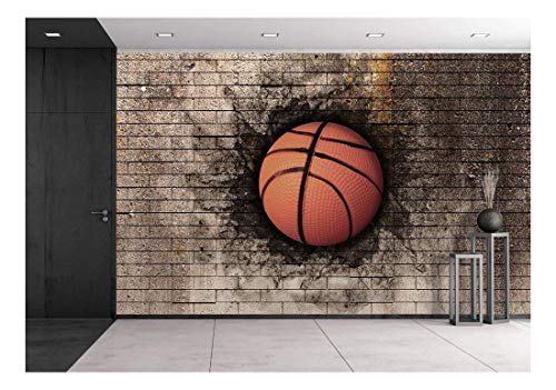 wall26-3D Rendering of a Basket Ball Embedded in a Brick Wall - Removable Wall Mural | Self-Adhesive Large Wallpaper - 100x144 inches