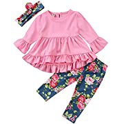 Little Girl Pink Long Sleeve Ruffle Dress T-Shirt Floral Pants Headband/Scarf 3 Pcs Outfits Sets (Pink, 6-12 Months)