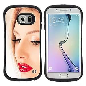 "Pulsar iFace Series Tpu silicona Carcasa Funda Case para Samsung Galaxy S6 EDGE / SM-G925(NOT FOR S6!!!) , Retrato Cara Rubia mujer Labios rojos Ojos"""